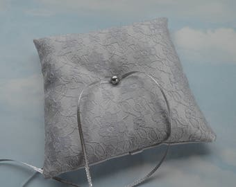 Silver grey wedding. Ring pillow. Ring cushion.