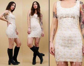 80s Vtg White Cotton FRINGE Tassle GoGo Sleeveless Bodycon Mini Dress / Skin Tight Scoop Neck / Xxs Xs