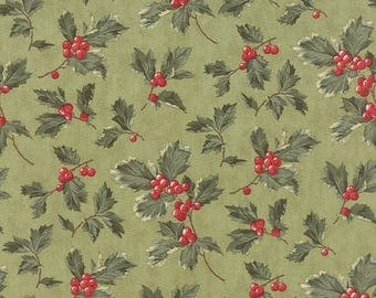 12% off thru July MIDNIGHT CLEAR green holly and red berries on winter sage by the yard 3 Sisters Moda fabric Christmas 44112-16 cotton prin