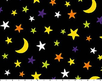 WOODLAND HAUNT Northcott HALLOWEEN cotton quilt fabric by the half yard multicolor stars moons on black 20721-99