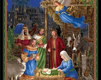 20 % off thru 8/20 IN BETHLEHEM CHRISTMAS Nativity  Fabric Panel Quilting Treasures-Mary Joseph Jesus, 3 wise men angel  35 by 44 inches- 25