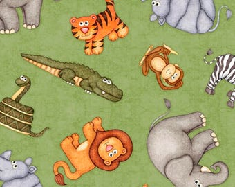 JUNGLE BUDDIES-by the half yard by QT fabrics-animals on green cotton print-26412-g- lion, elephant, tiger for children