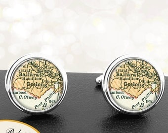 Map Cufflinks Geelong Australia Cuff Links for Groomsmen Groom Fiance Anniversary Wedding Party Fathers Dads Men