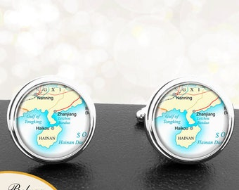 Map Cufflinks Haikou China Cuff Links for Groomsmen Groom Fiance Anniversary Wedding Party Fathers Dads Men