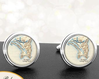 Map Cufflinks Connecticut Groton Long Point Handmade Cuff Links City Maps CT Groomsmen Wedding Party Fathers Dads Men