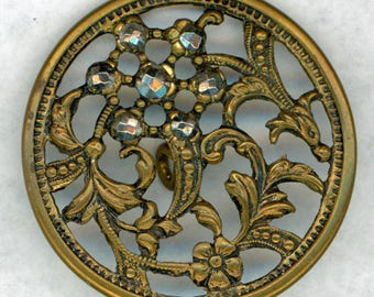 Beautiful Antique Openwork Pierced Floral Brass Button ~ Graceful Flowers and Leaves ~ Cut Steels Accent ~ 1-3/8 inch 35mm ~ Grammys Buttons