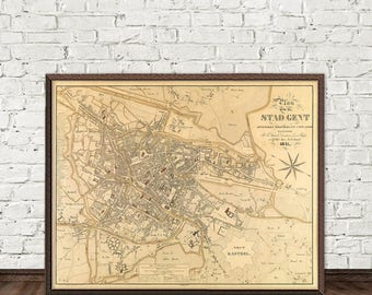 Old map of Ghent print - Ghent (Belgium) map -  La carte de Gand -  Fine reproduction