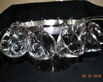 "14 Piece Dorothy Thorpe Silver Band 11"" V Shaped Punch Bowl 12 Hanging Cups and One Ladle"