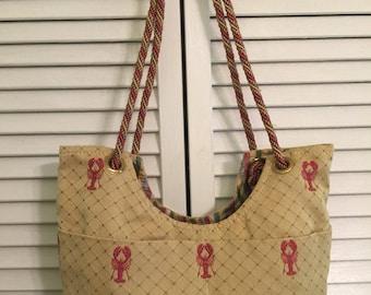 Lobster print shoulder tote bag