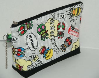 """Large Padded Zipper Pouch/Pencil Case/Cosmetic Case with Pocket Made with Japanese Cotton Oxford Fabric """"Japanese Sentai Heroes"""" Kamen Rider"""