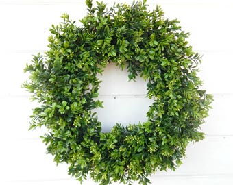 Farmhouse Wreath-BOXWOOD Wreath-Farmhouse Decor-Summer Wreath-Year Round Wreath-Outdoor Wreath-YearRound Wreath-Housewarming Gift