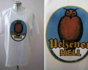 Black German Beer Label Owl T Shirt  Only one size available