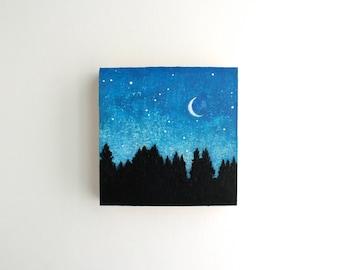 Crescent Moon Night Sky Painting - 4 x 4
