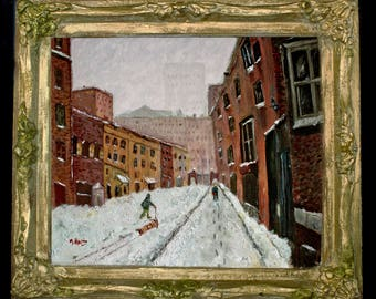 Winter in the Washington Mews~ Original Oil NY Cityscape ~Free Shipping in the US