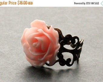 SUMMER SALE Peachy Pink Rose Ring. Peach Pink Flower Ring. Filigree Ring. Adjustable Ring. Flower Jewelry. Handmade Jewelry.