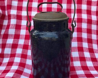 Antique milk jug, granite ware, enamelware, original tin lid, handle, blue, navy, indigo, speckled, cream