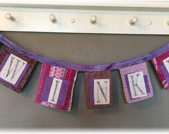 Whimsical Kantha Banner / Prayer Flag  TWINKLE