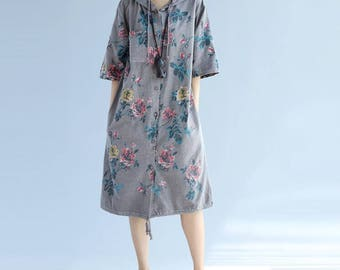 Cotton print dress Large size hooded dress single breasted Bottoming dress