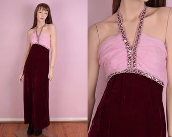 70s Velvet Halter Maxi Dress/ XS/ 1970s/ Prom/ Evening