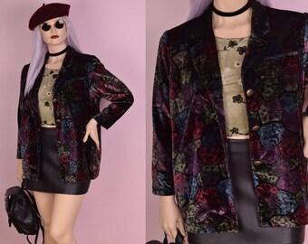90s Printed Velvet Blazer/ Large/ 1990s/ Jacket