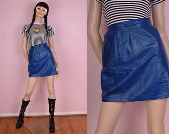 80s Blue Leather High Waisted Skirt/ US 5-6/ 1980s