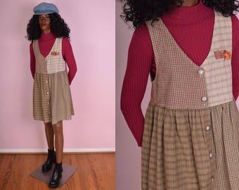 90s Deadstock Multi Plaid Button Down Jumper Dress/ Medium/ 1990s