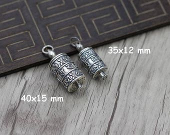 925 Sterling Silver Prayer Wheel Pendant,  silver locket pendant, Shurangama Mantra  antique silver wish box