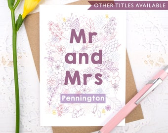 Personalised Mr and Mrs wedding card - Mr and Mr card - Mrs and Mrs card - Engagement card - Wedding card - Civil partnership card