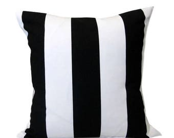 SALE Black and White Striped Pillow Cover, Accent Pillow, Toss Pillow, Vertical Stripe, Various Sizes