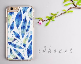 Watercolor Blue Feather iPhone 6 case, Clear iPhone 6s case - HTPC607