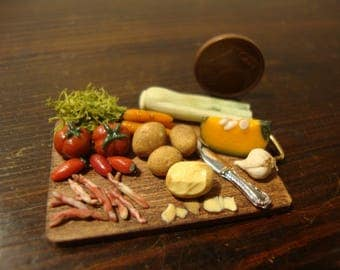 miniature, for dollhouse, chopping wood, with,  vegetables,