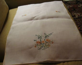 White embroidered linen dresser scarf