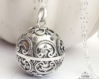 Large 23mm Bali Ornate Design Harmony Ball (aka Mexican Bola) Pendant Necklace LS95
