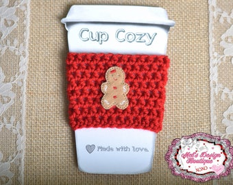 Crochet cup cozy, crochet travel cup cozy, cozie, coffee cozie, red coffee cozy, christmas cozy, gift, crochet cozy, gingerbread girl