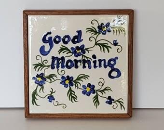 Good Morning Breakfast Hand Painted Tile Trivet