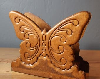 Wood Pressed Butterfly Napkin Holder - Letter Holder