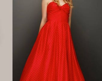 Sample SALE Unique 50s style Red Strapless Dress with tiny dots and boned corsette