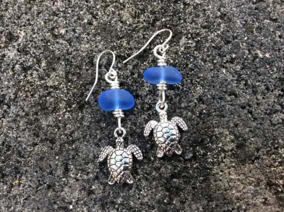Cobalt Blue Seaglass,  Silver Turtle Charm Earrings