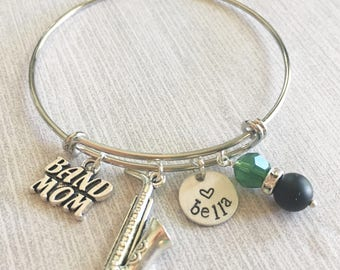 Personalized Hand Stamped Band Mom Bangle Name School Colors