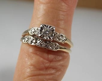 Vintage diamond Bridal Set .25Ctw WG/YG 3.8gm Size 8