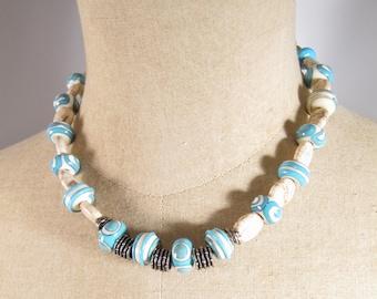 Sterling Silver Signed Saki Bead Necklace Toggle White Malachite Blue Art Glass