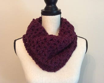 Chunky Crochet Cowl Neck Warmer, Cowl Scarf, Handmade Neck Warmer,Circle Scarf Color Plum/Wine