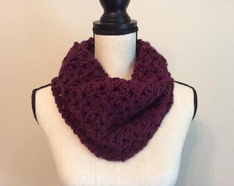 Chunky Crochet Cowl Neck Warmer, Cowl Scarf, Handmade Neck Warmer,Circle Scarf Color Plum/Wine