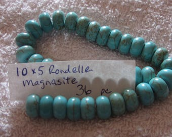 Turquoise Magnasite Rhondell Beads 10x5 mm 36 pieces