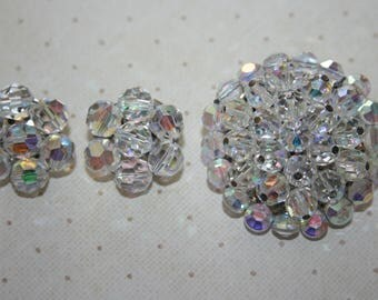 Vintage Silver Tone Aurora Borealis Cluster Brooch Pin and Cluster Clip On Earrings