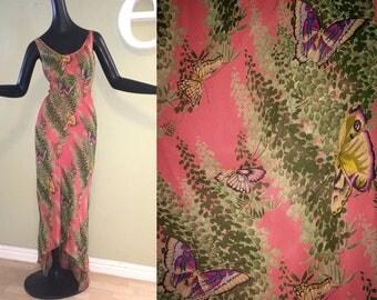 Gorgeous Vintage 90s Betsey Johnson Butterfly SHEER Dress High Low Hem 1990s Grunge w/ separate Liner Maxi Coral Pink Rust Butterflies S M