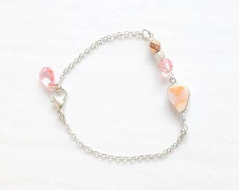 reclaimed bead and chain bracelet - pink, gold, white