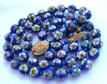 Art Deco Necklace - Cloisonne Enamel Beads - Lapis Blue Hand Knotted - 1930s Antique Jewelry - Vintage China Export
