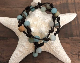 AMAZONITE & LEATHER Bracelet, Wraps Around Wrist 1 or 2 X, Knotted Brown Leather shown8mm Matte Amazonite Beads-Choose 1 or 2 strands