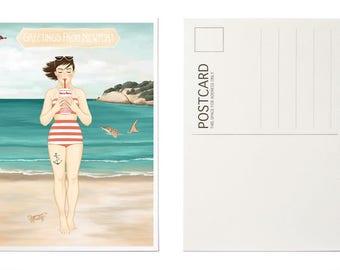 Illustrated Postcard, Art Postcard, Beach Illustration, Summer, Coastal Art, Newport, RI, New England